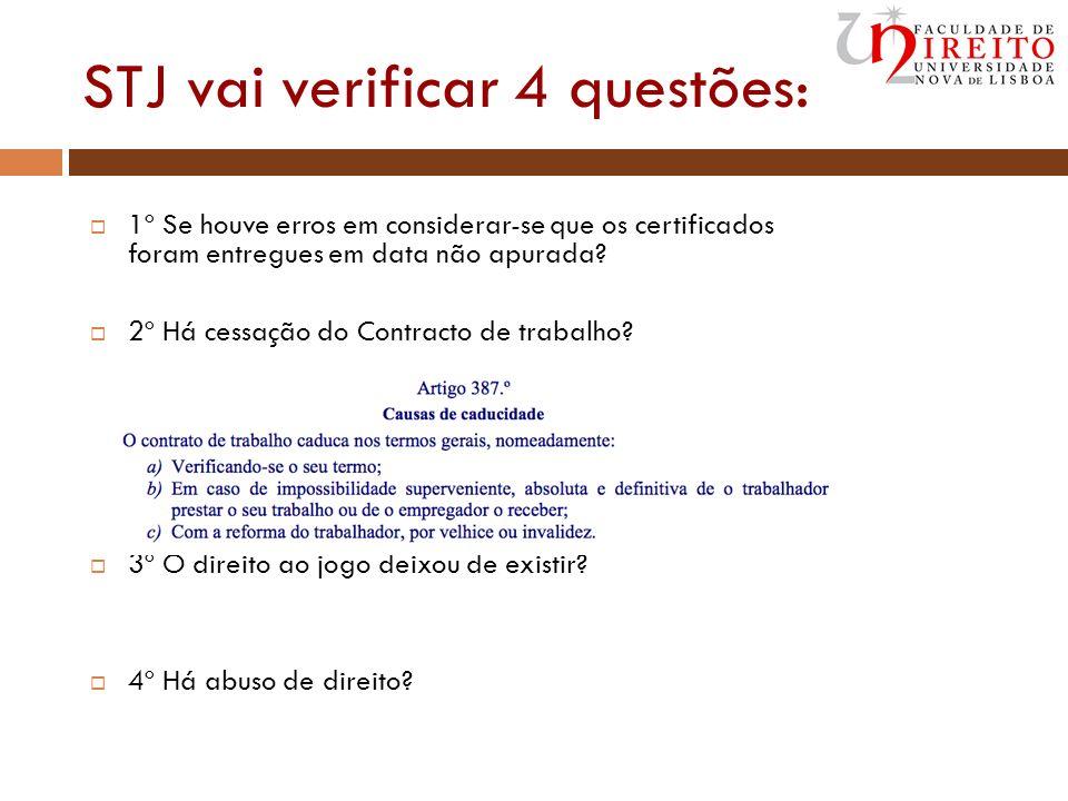 STJ vai verificar 4 questões: 1º Se houve erros em considerar-se que os certificados foram entregues em data não apurada? 2º Há cessação do Contracto