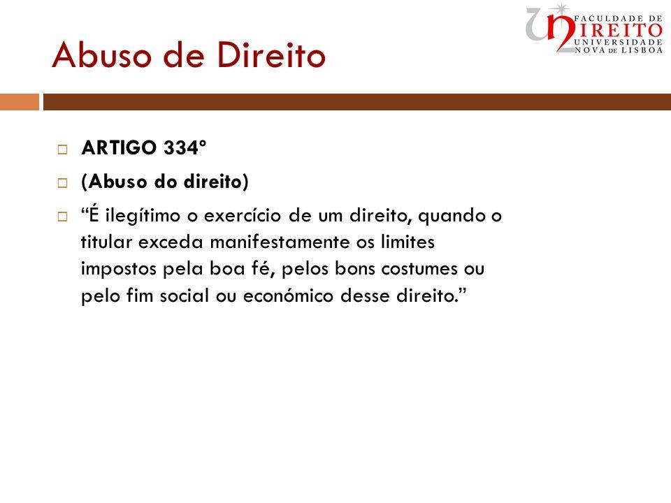 Abuso de Direito ARTIGO 334º (Abuso do direito) É ilegítimo o exercício de um direito, quando o titular exceda manifestamente os limites impostos pela