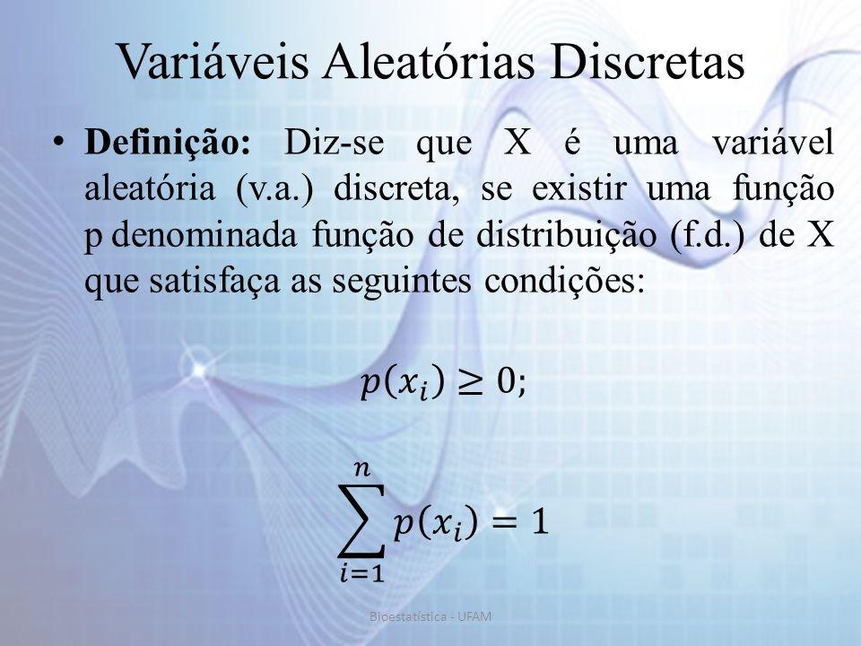 Distribuição de Bernoulli Exemplo: Um experimento aleatório consiste em lançar um dado honesto e observar o seu resultado.