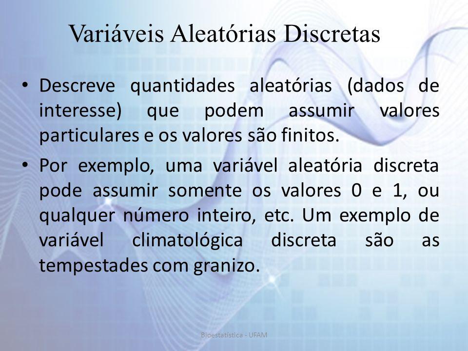 Alguns modelos de distribuição são frequentemente usados para representar a função distribuição de densidade (f.d.) de variáveis aleatórias discretas..