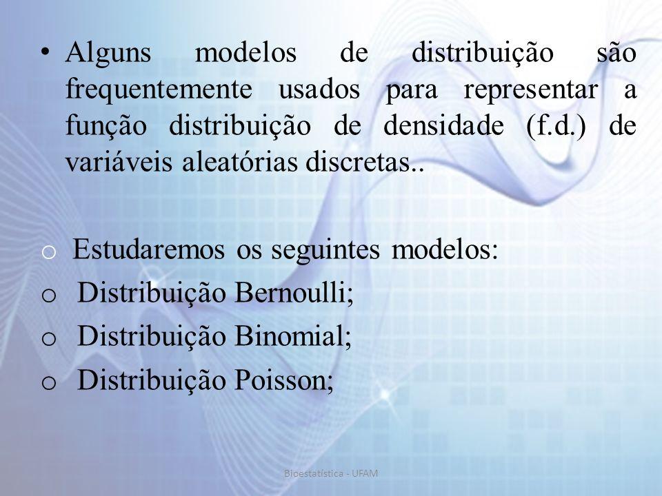 Distribuição Binomial onde: n é o número de repetições do experimento; x é o número sucessos nas n repetições; n-x é o número de fracassos nas n repetições; p é a probabilidade de sucesso num ensaio individual; q é a probabilidade de fracasso num ensaio individual.