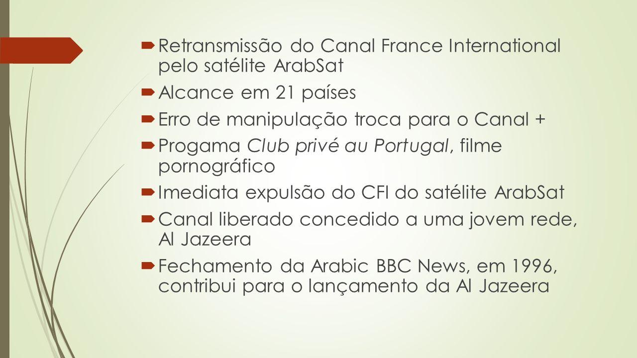 Retransmissão do Canal France International pelo satélite ArabSat Alcance em 21 países Erro de manipulação troca para o Canal + Progama Club privé au Portugal, filme pornográfico Imediata expulsão do CFI do satélite ArabSat Canal liberado concedido a uma jovem rede, Al Jazeera Fechamento da Arabic BBC News, em 1996, contribui para o lançamento da Al Jazeera