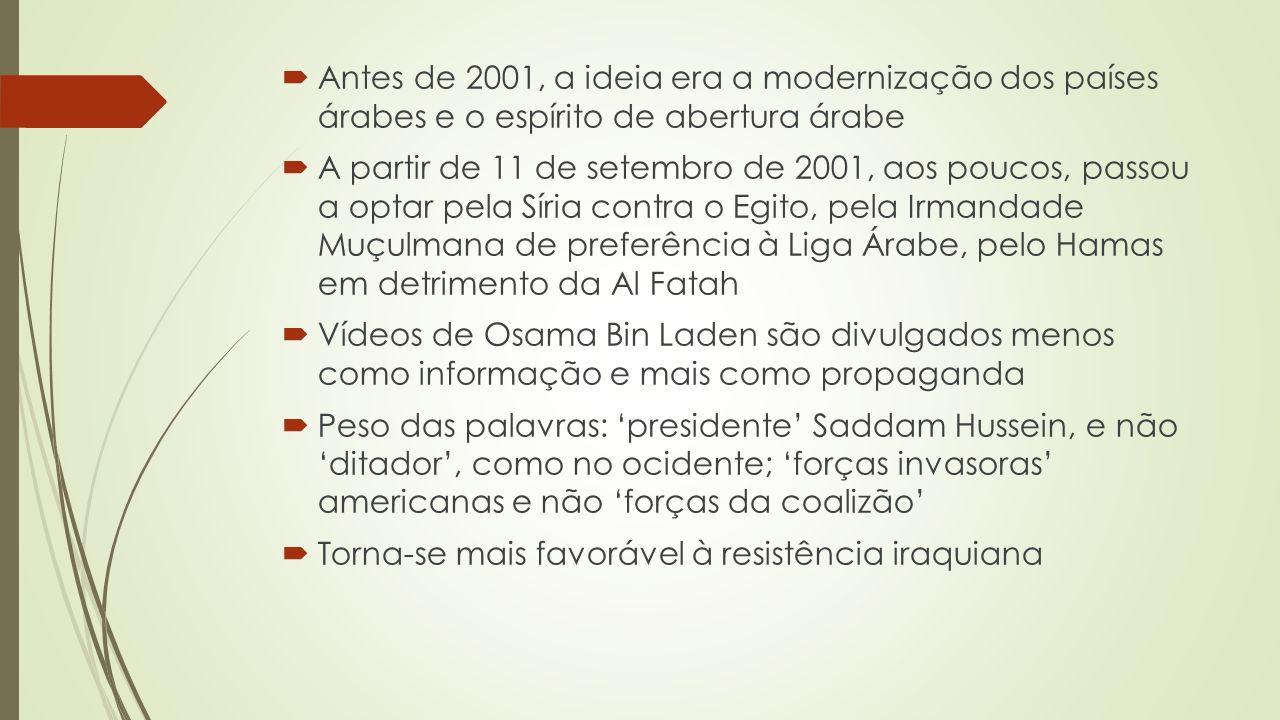 Antes de 2001, a ideia era a modernização dos países árabes e o espírito de abertura árabe A partir de 11 de setembro de 2001, aos poucos, passou a optar pela Síria contra o Egito, pela Irmandade Muçulmana de preferência à Liga Árabe, pelo Hamas em detrimento da Al Fatah Vídeos de Osama Bin Laden são divulgados menos como informação e mais como propaganda Peso das palavras: presidente Saddam Hussein, e não ditador, como no ocidente; forças invasoras americanas e não forças da coalizão Torna-se mais favorável à resistência iraquiana
