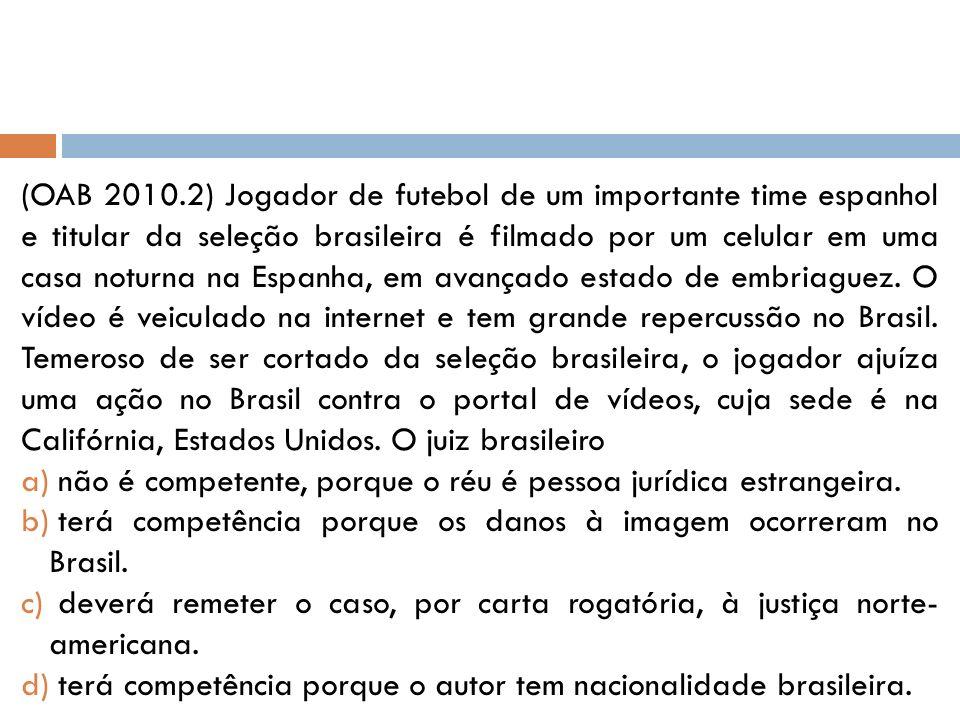 (OAB 2010.2) Jogador de futebol de um importante time espanhol e titular da seleção brasileira é filmado por um celular em uma casa noturna na Espanha, em avançado estado de embriaguez.