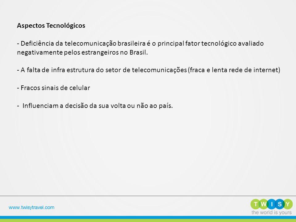 Aspectos Tecnológicos - Deficiência da telecomunicação brasileira é o principal fator tecnológico avaliado negativamente pelos estrangeiros no Brasil.