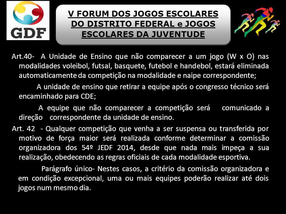 Art.40- A Unidade de Ensino que não comparecer a um jogo (W x O) nas modalidades voleibol, futsal, basquete, futebol e handebol, estará eliminada auto