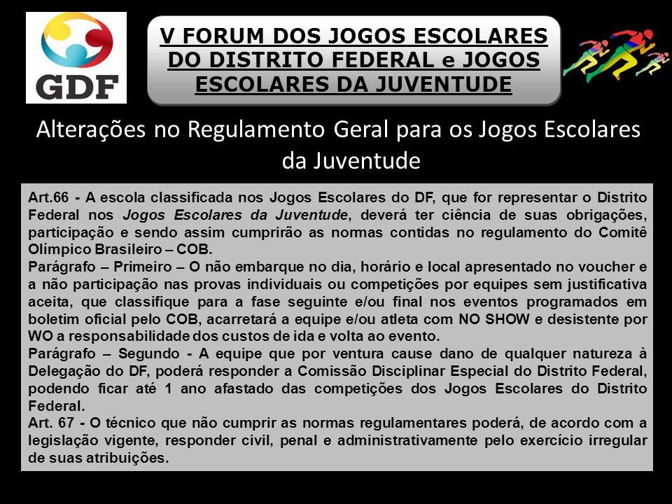 Alterações no Regulamento Geral para os Jogos Escolares da Juventude V FORUM DOS JOGOS ESCOLARES DO DISTRITO FEDERAL e JOGOS ESCOLARES DA JUVENTUDE Ar