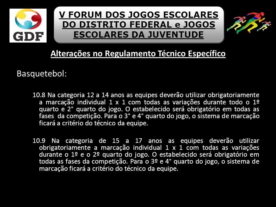 Alterações no Regulamento Técnico Específico Basquetebol: 10.8 Na categoria 12 a 14 anos as equipes deverão utilizar obrigatoriamente a marcação indiv