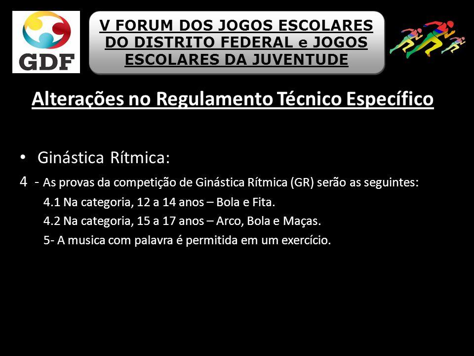 Alterações no Regulamento Técnico Específico Ginástica Rítmica: 4 - As provas da competição de Ginástica Rítmica (GR) serão as seguintes: 4.1 Na categ