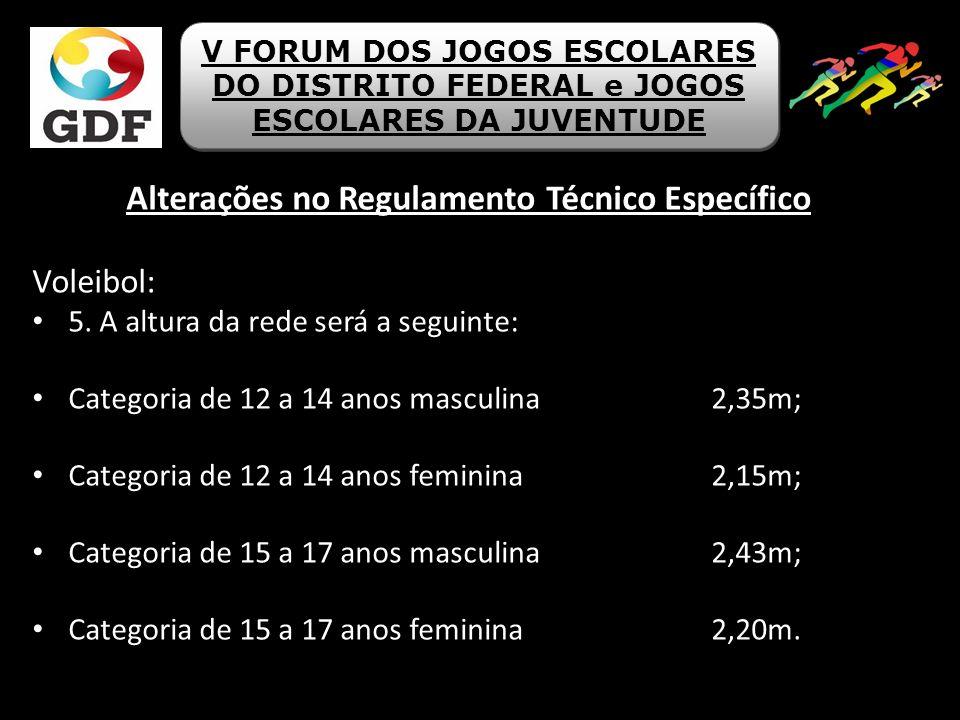 Alterações no Regulamento Técnico Específico Voleibol: 5. A altura da rede será a seguinte: Categoria de 12 a 14 anos masculina 2,35m; Categoria de 12