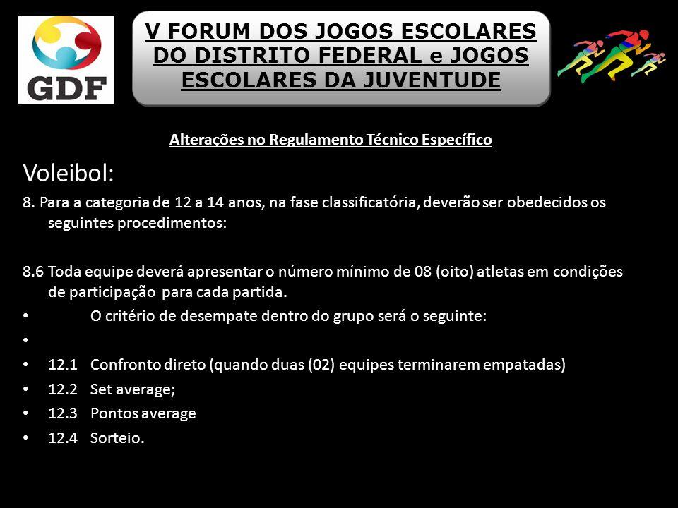 Alterações no Regulamento Técnico Específico Voleibol: 8. Para a categoria de 12 a 14 anos, na fase classificatória, deverão ser obedecidos os seguint