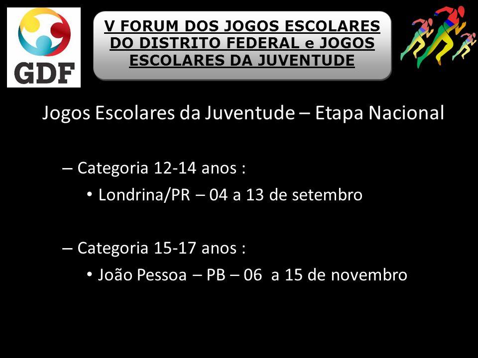 Jogos Escolares da Juventude – Etapa Nacional – Categoria 12-14 anos : Londrina/PR – 04 a 13 de setembro – Categoria 15-17 anos : João Pessoa – PB – 0