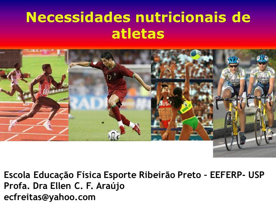Necessidades nutricionais de atletas Escola Educação Física Esporte Ribeirão Preto – EEFERP- USP Profa. Dra Ellen C. F. Araújo ecfreitas@yahoo.com