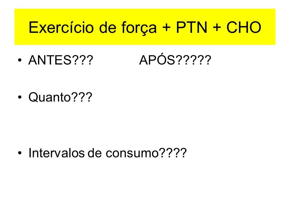 Exercício de força + PTN + CHO ANTES??? APÓS????? Quanto??? Intervalos de consumo????