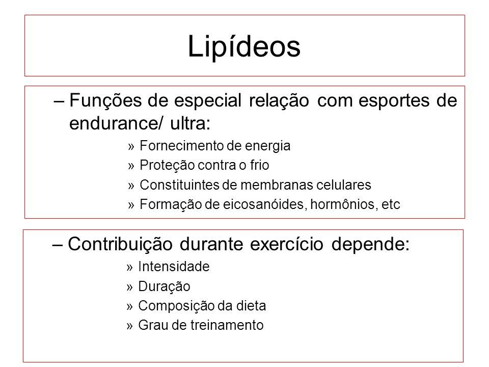 Lipídeos –Funções de especial relação com esportes de endurance/ ultra: »Fornecimento de energia »Proteção contra o frio »Constituintes de membranas c