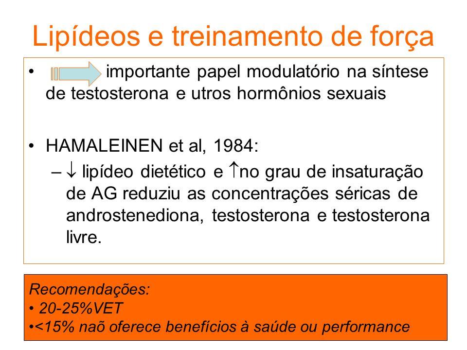 Lipídeos e treinamento de força importante papel modulatório na síntese de testosterona e utros hormônios sexuais HAMALEINEN et al, 1984: – lipídeo di