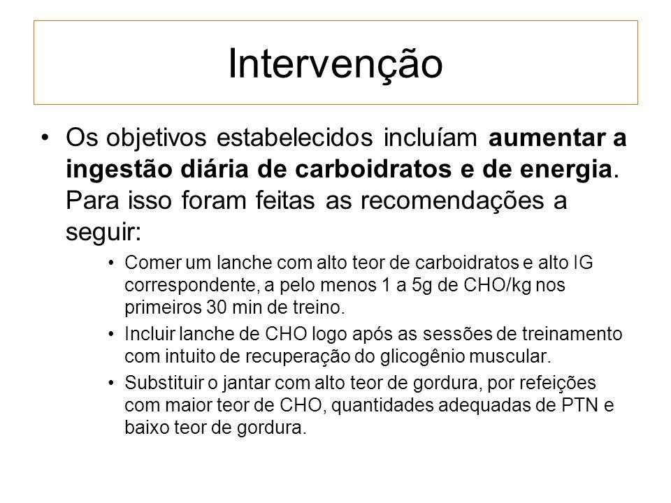 Intervenção Os objetivos estabelecidos incluíam aumentar a ingestão diária de carboidratos e de energia. Para isso foram feitas as recomendações a seg