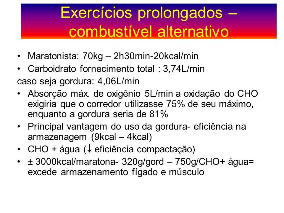 Maratonista: 70kg – 2h30min-20kcal/min Carboidrato fornecimento total : 3,74L/min caso seja gordura: 4,06L/min Absorção máx. de oxigênio 5L/min a oxid