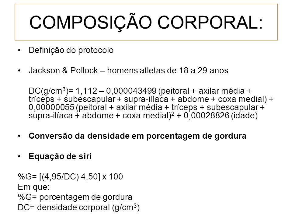 COMPOSIÇÃO CORPORAL: Definição do protocolo Jackson & Pollock – homens atletas de 18 a 29 anos DC(g/cm 3 )= 1,112 – 0,000043499 (peitoral + axilar méd