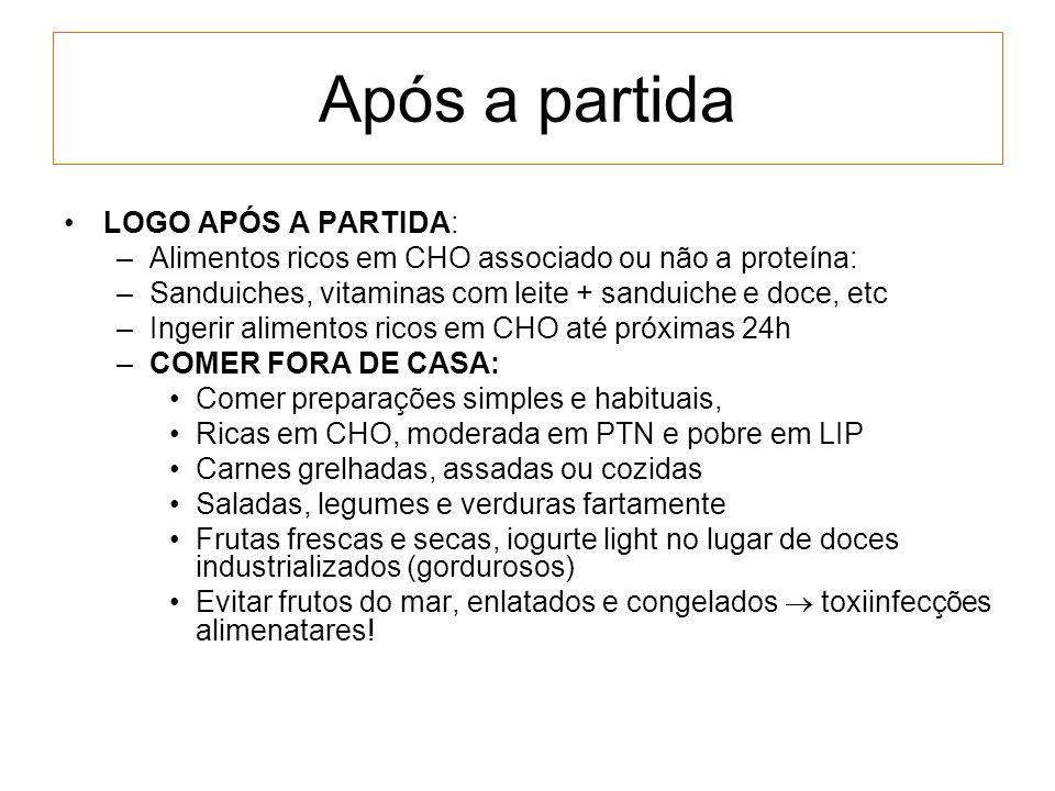 Após a partida LOGO APÓS A PARTIDA: –Alimentos ricos em CHO associado ou não a proteína: –Sanduiches, vitaminas com leite + sanduiche e doce, etc –Ing