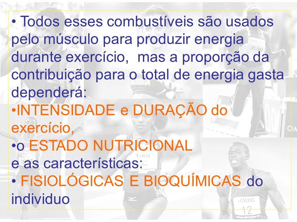 Todos esses combustíveis são usados pelo músculo para produzir energia durante exercício, mas a proporção da contribuição para o total de energia gast