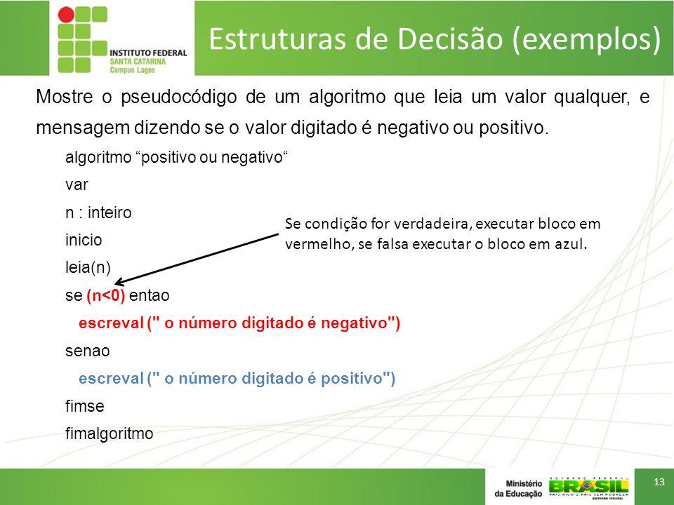 Estruturas de Decisão (exemplos) Mostre o pseudocódigo de um algoritmo que leia um valor qualquer, e mensagem dizendo se o valor digitado é negativo o