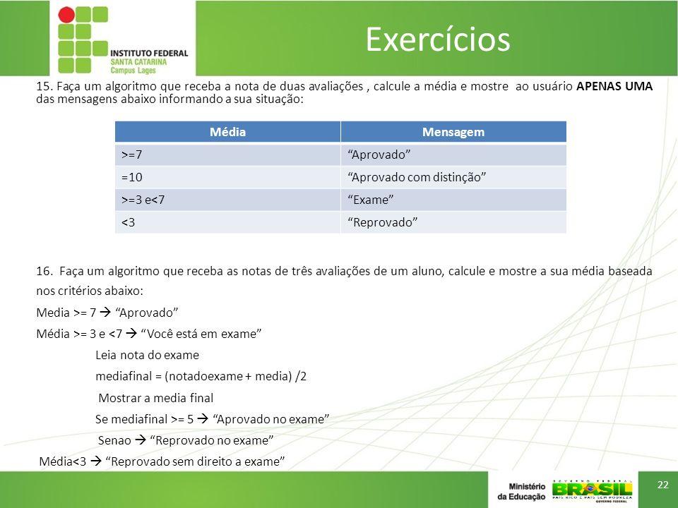 Exercícios 15. Faça um algoritmo que receba a nota de duas avaliações, calcule a média e mostre ao usuário APENAS UMA das mensagens abaixo informando