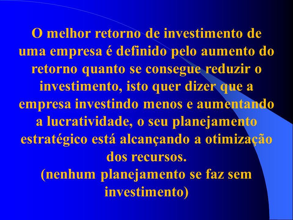 O melhor retorno de investimento de uma empresa é definido pelo aumento do retorno quanto se consegue reduzir o investimento, isto quer dizer que a em