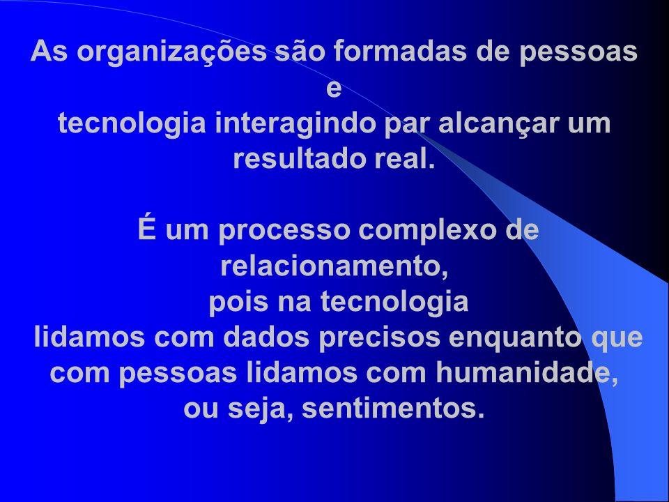 As organizações são formadas de pessoas e tecnologia interagindo par alcançar um resultado real. É um processo complexo de relacionamento, pois na tec