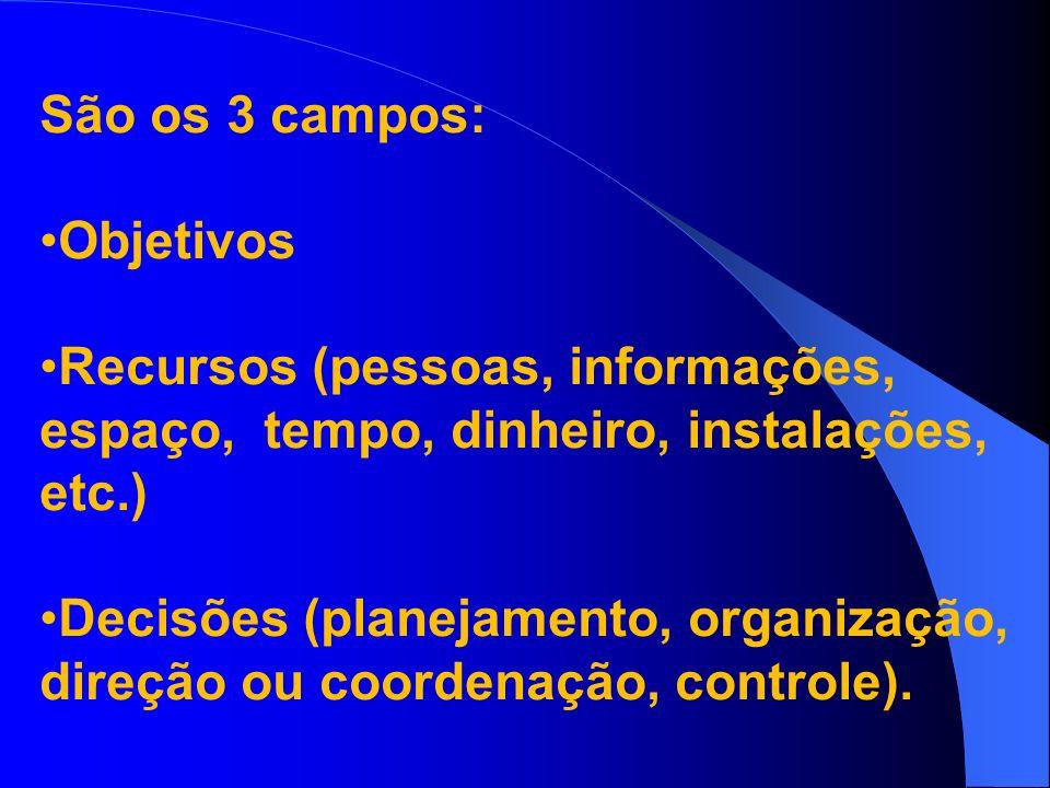 São os 3 campos: Objetivos Recursos (pessoas, informações, espaço, tempo, dinheiro, instalações, etc.) Decisões (planejamento, organização, direção ou