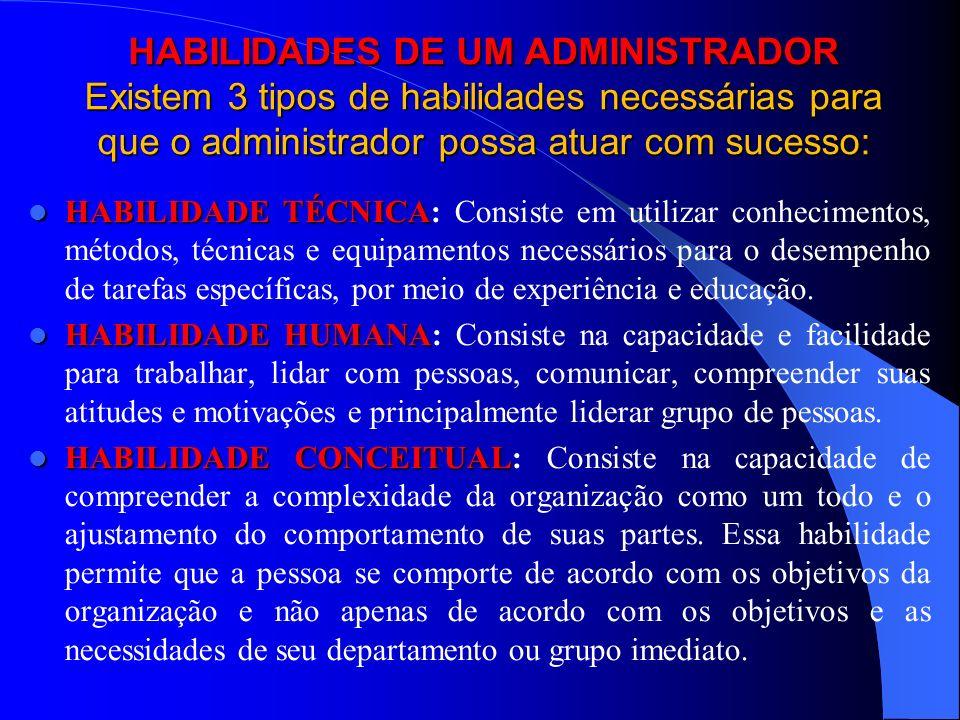HABILIDADES DE UM ADMINISTRADOR Existem 3 tipos de habilidades necessárias para que o administrador possa atuar com sucesso: HABILIDADE TÉCNICA HABILI