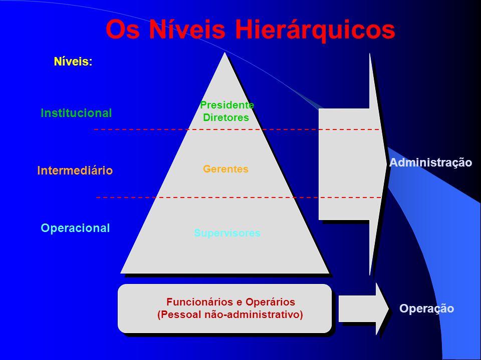 Os Níveis Hierárquicos Níveis: Institucional Intermediário Operacional Presidente Diretores Gerentes Supervisores Administração Operação Funcionários