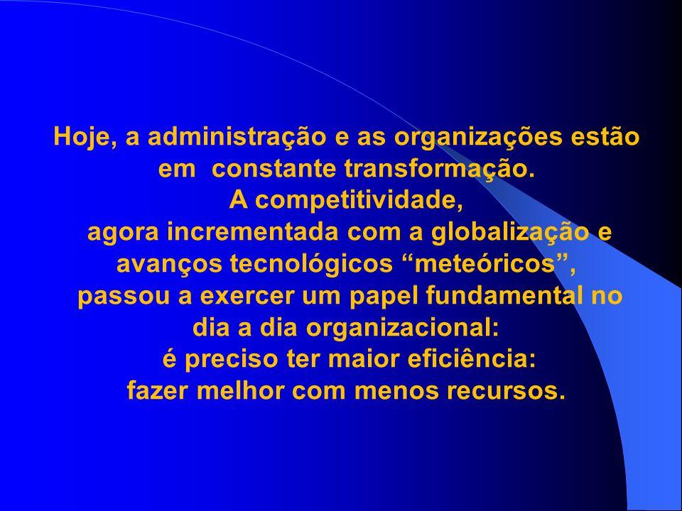 Hoje, a administração e as organizações estão em constante transformação. A competitividade, agora incrementada com a globalização e avanços tecnológi