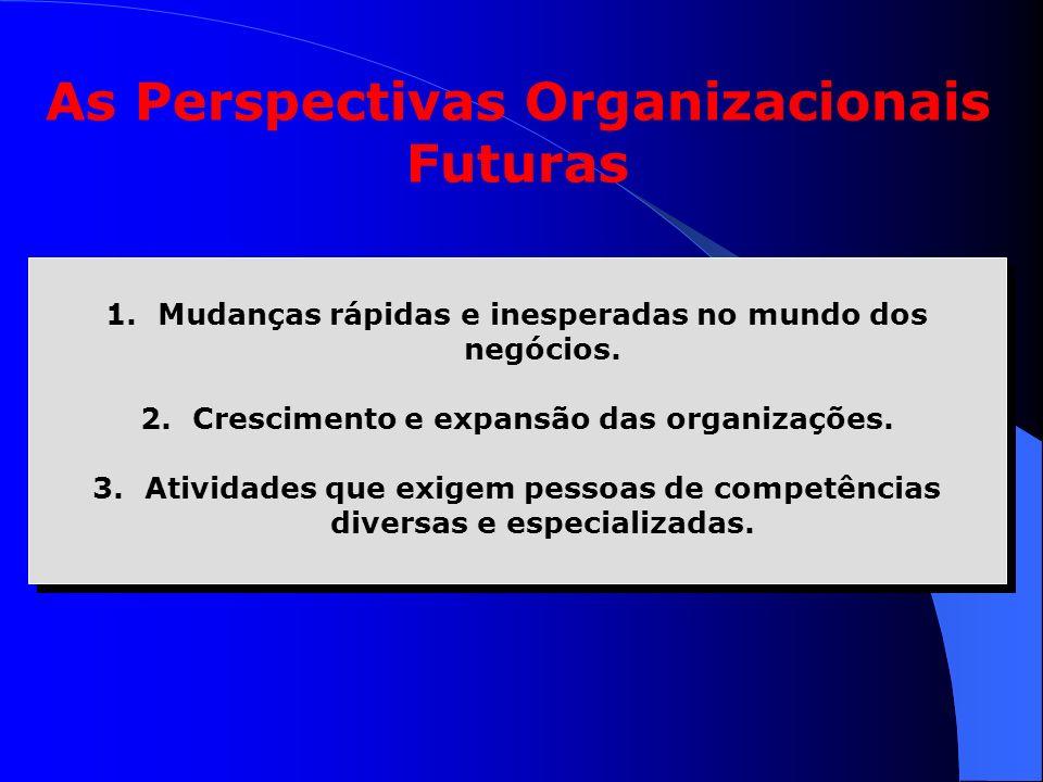 1.Mudanças rápidas e inesperadas no mundo dos negócios. 2.Crescimento e expansão das organizações. 3.Atividades que exigem pessoas de competências div
