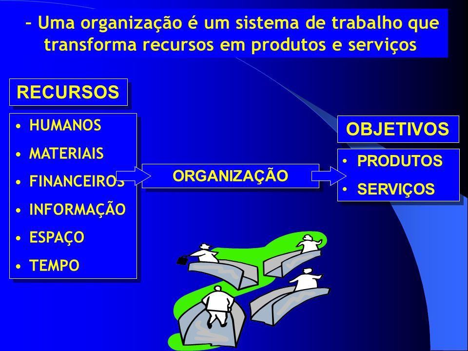 RECURSOS HUMANOS MATERIAIS FINANCEIROS INFORMAÇÃO ESPAÇO TEMPO HUMANOS MATERIAIS FINANCEIROS INFORMAÇÃO ESPAÇO TEMPO ORGANIZAÇÃO PRODUTOS SERVIÇOS PRO