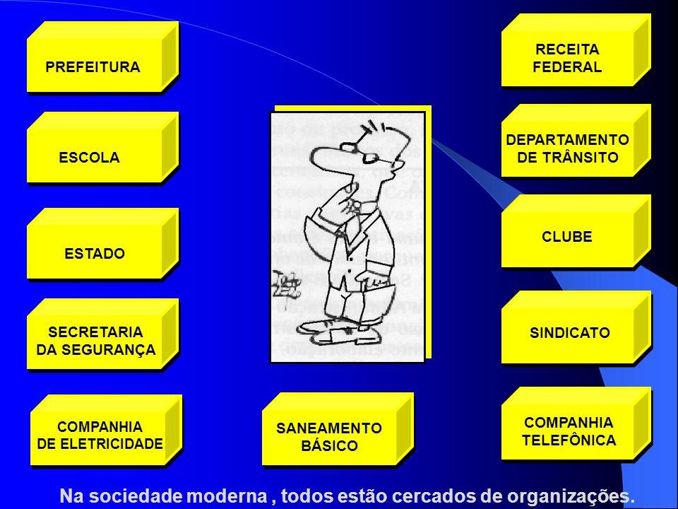Na sociedade moderna, todos estão cercados de organizações. DEPARTAMENTO DE TRÂNSITO CLUBESINDICATO COMPANHIA TELEFÔNICA SANEAMENTO BÁSICO COMPANHIA D