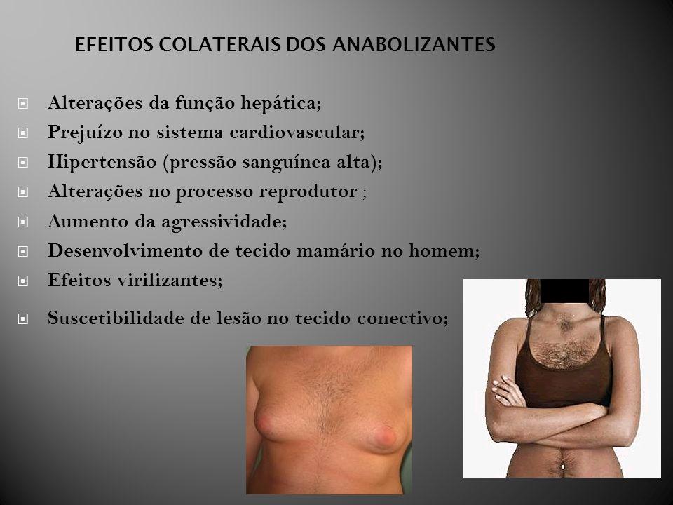 EFEITOS COLATERAIS DOS ANABOLIZANTES Alterações da função hepática; Prejuízo no sistema cardiovascular; Hipertensão (pressão sanguínea alta); Alteraçõ