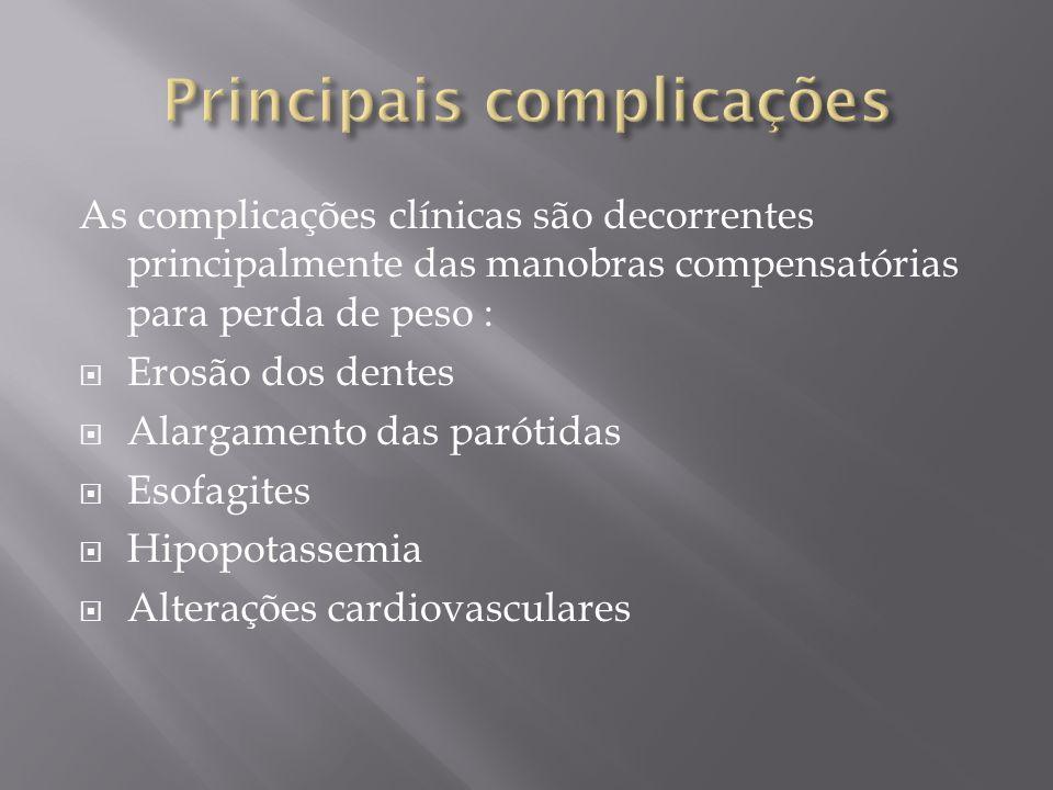 As complicações clínicas são decorrentes principalmente das manobras compensatórias para perda de peso : Erosão dos dentes Alargamento das parótidas E