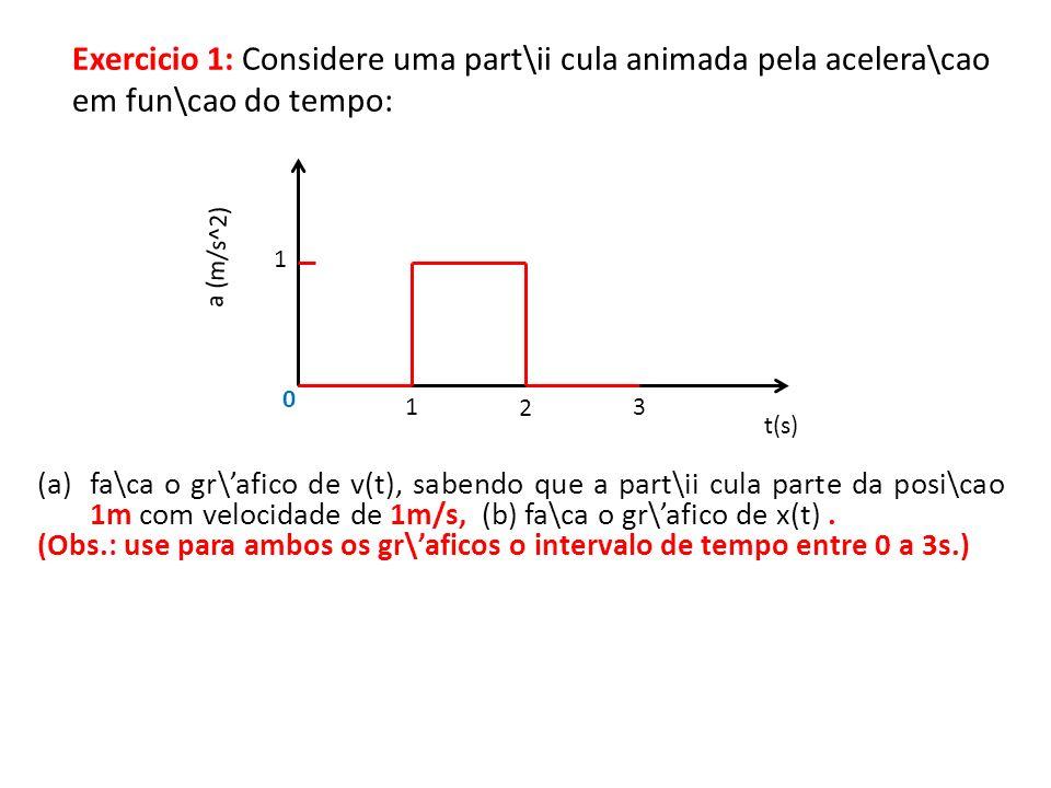 Exercicio 1: Considere uma part\ii cula animada pela acelera\cao em fun\cao do tempo: t(s) a (m/s^2) 1 2 1 (a)fa\ca o gr\afico de v(t), sabendo que a part\ii cula parte da posi\cao 1m com velocidade de 1m/s, (b) fa\ca o gr\afico de x(t).