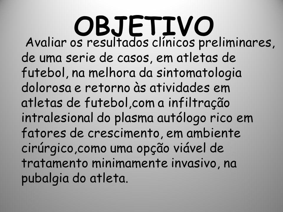 OBJETIVO Avaliar os resultados clínicos preliminares, de uma serie de casos, em atletas de futebol, na melhora da sintomatologia dolorosa e retorno às