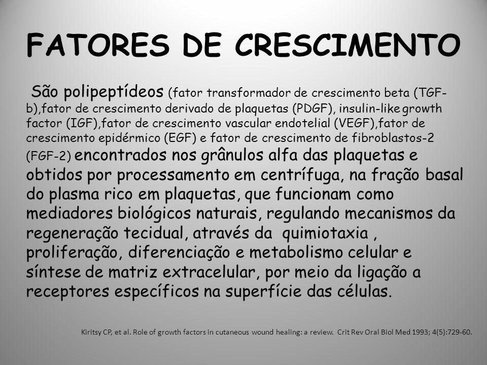 FATORES DE CRESCIMENTO São polipeptídeos (fator transformador de crescimento beta (TGF- b),fator de crescimento derivado de plaquetas (PDGF), insulin-