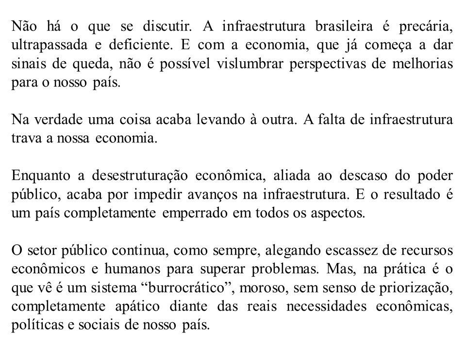 Não há o que se discutir. A infraestrutura brasileira é precária, ultrapassada e deficiente. E com a economia, que já começa a dar sinais de queda, nã