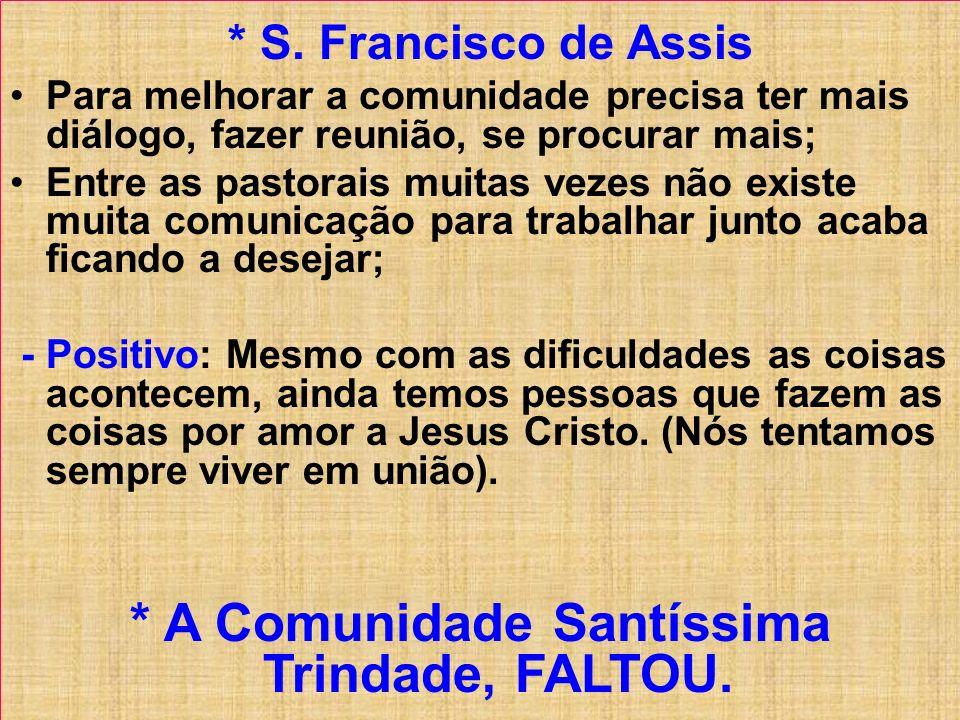 * S. Francisco de Assis Para melhorar a comunidade precisa ter mais diálogo, fazer reunião, se procurar mais; Entre as pastorais muitas vezes não exis
