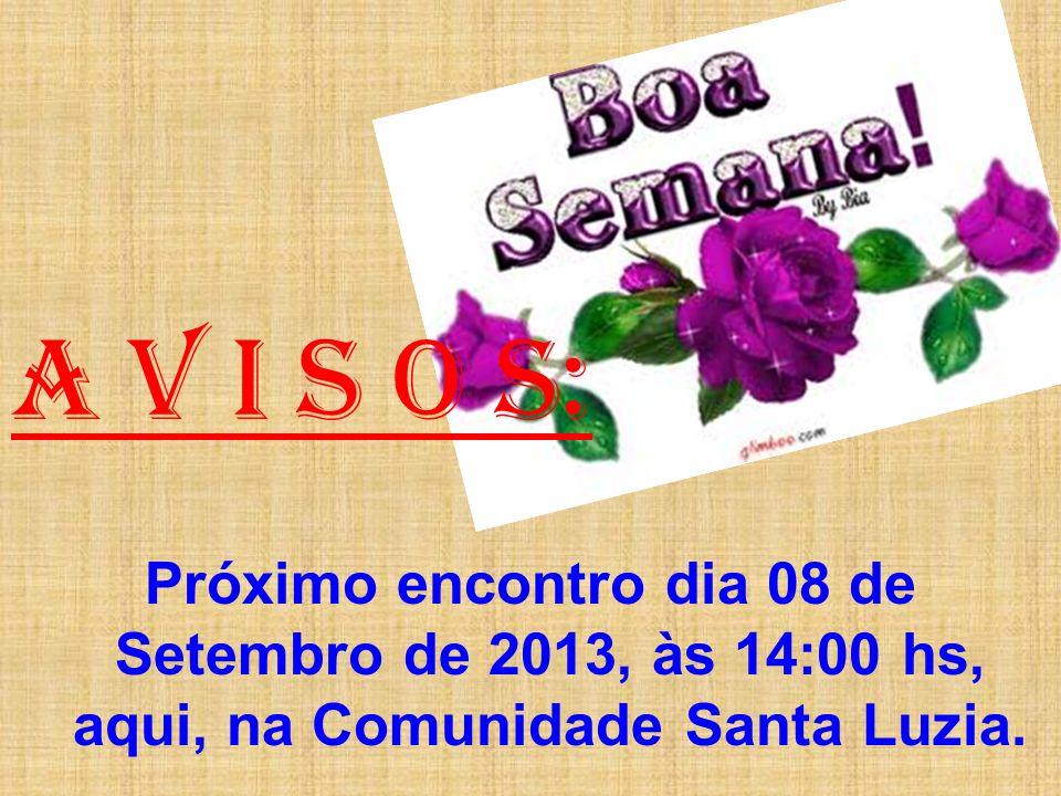 A V I S O S: Próximo encontro dia 08 de Setembro de 2013, às 14:00 hs, aqui, na Comunidade Santa Luzia.