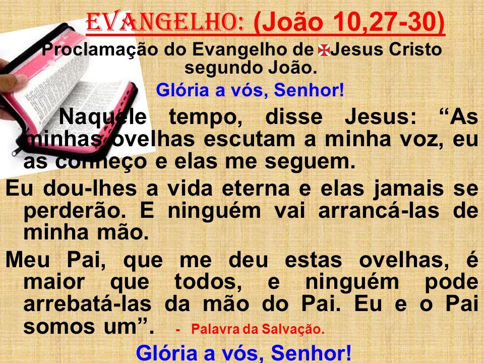 EVANGELHO: (João 10,27-30) Proclamação do Evangelho de Jesus Cristo segundo João. Glória a vós, Senhor! Naquele tempo, disse Jesus: As minhas ovelhas