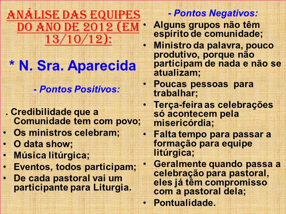 ANÁLISE DAS EQUIPES DO ANO DE 2012 (Em 13/10/12): * N. Sra. Aparecida - Pontos Positivos:. Credibilidade que a Comunidade tem com povo; Os ministros c