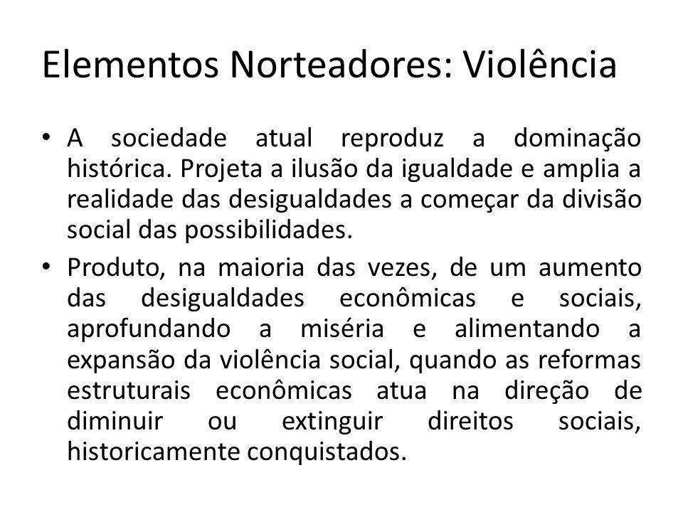 Elementos Norteadores: Violência A sociedade atual reproduz a dominação histórica.