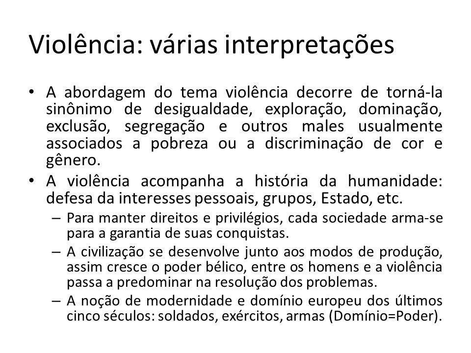Violência: várias interpretações A abordagem do tema violência decorre de torná-la sinônimo de desigualdade, exploração, dominação, exclusão, segregação e outros males usualmente associados a pobreza ou a discriminação de cor e gênero.