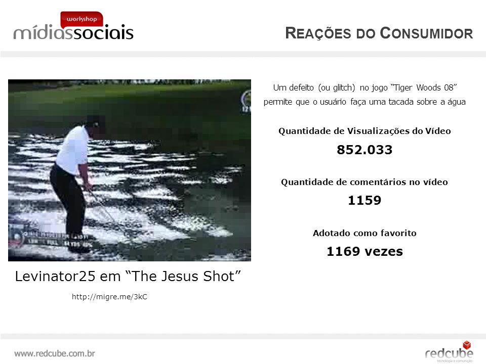 R EAÇÕES DO C ONSUMIDOR Levinator25 em The Jesus Shot Um defeito (ou glitch) no jogo Tiger Woods 08 permite que o usuário faça uma tacada sobre a água Quantidade de Visualizações do Vídeo 852.033 Quantidade de comentários no vídeo 1159 Adotado como favorito 1169 vezes http://migre.me/3kC