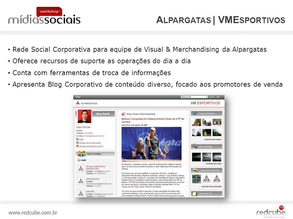 Rede Social Corporativa para equipe de Visual & Merchandising da Alpargatas Oferece recursos de suporte as operações do dia a dia Conta com ferramentas de troca de informações Apresenta Blog Corporativo de conteúdo diverso, focado aos promotores de venda A LPARGATAS | VME SPORTIVOS